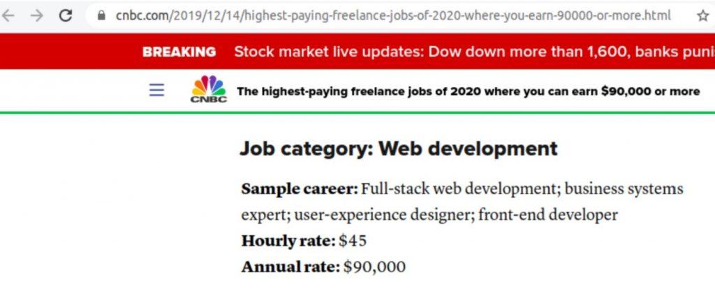 Top 5 growing skills Web development