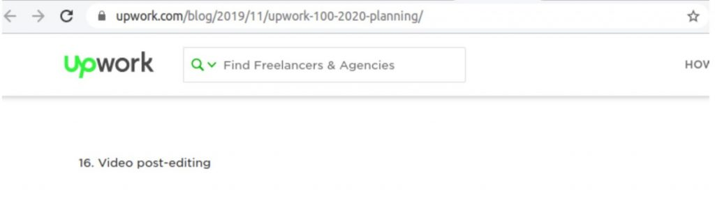 Video Editing in list of growing freelance skills